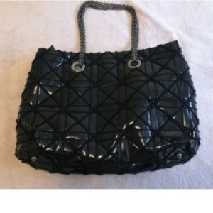 Big Buddha  Black Patent Tote Bag with Mesh Chain